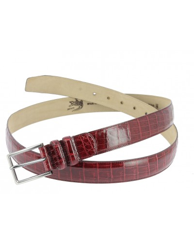 Mezlan genuine red crocodile leather belt