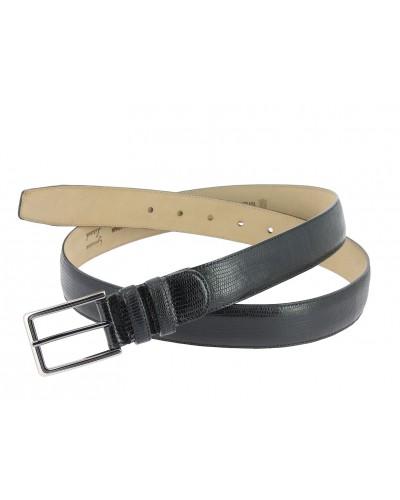 Mezlan genuine black lizard leather belt