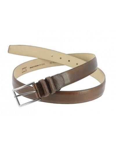 Mezlan genuine brown lizard leather belt
