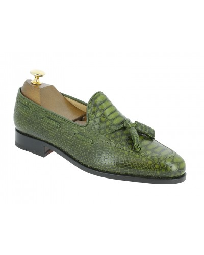 Moccasin with Pompons Center 51 3136 Will Green leather python print finish