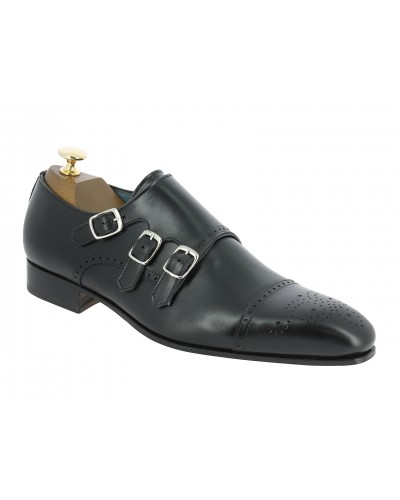 Triple Monk strap shoe Center 51 12294 Ciro black leather