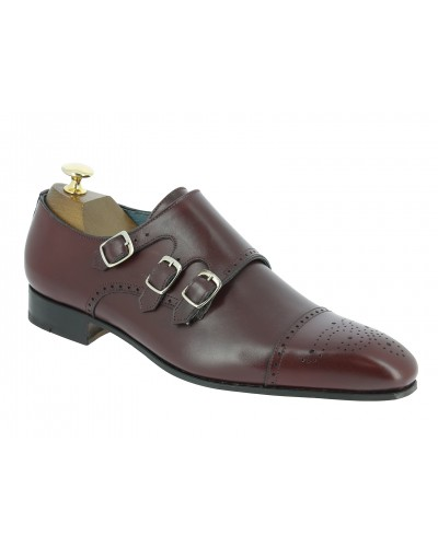 Triple Monk strap shoe Center 51 12294 Ciro burgundy leather