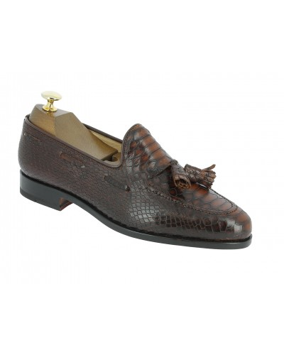 Moccasin with Pompons Center 51 3136 Will brown leather python print finish