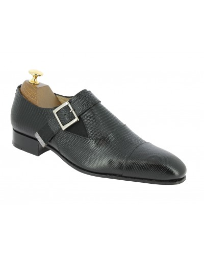 Monk strap shoe Baxton 12249 Norm black leather lizard print finish