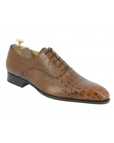 Oxford shoe Center 51  7163 Toby brown leather crocodile print finish