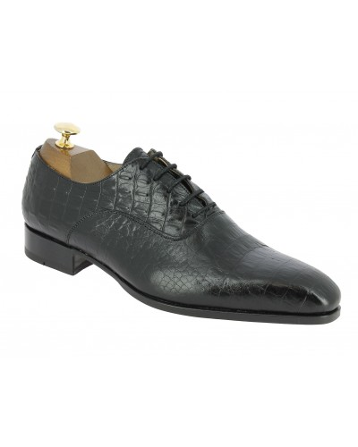 Oxford shoe Baxton  7163 Toby black leather crocodile print finish