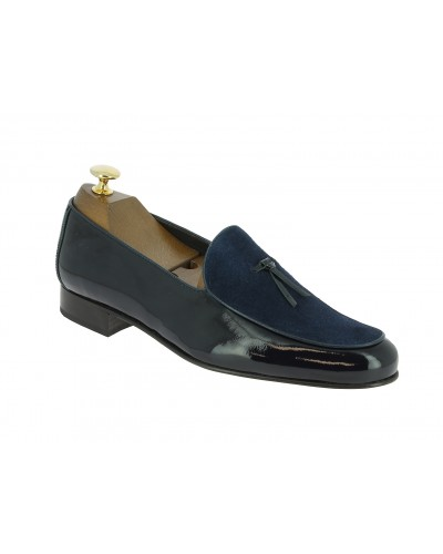 Moccasin slippers sleepers Center 51 Bimat bi-material blue navy varnished leather and suede