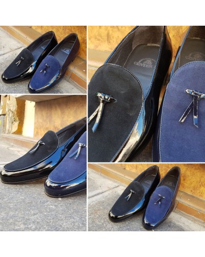Moccasin slippers sleepers Center 51 Bimat bi-material black varnished leather and suede