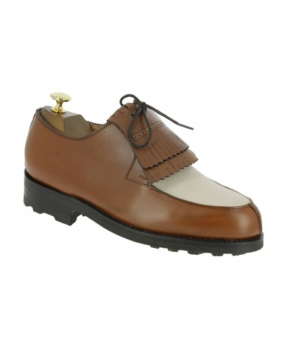 Derby shoe John Mendson 8172 bicolored brown and beige leather with tassels