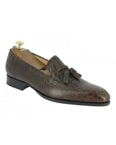 Moccasin Baxton 7617 dark brown leather crocodile print finish
