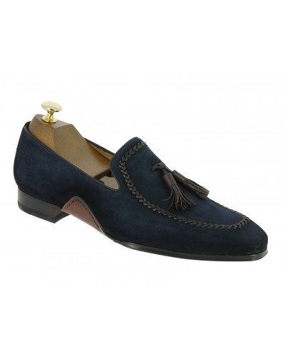 Moccasin shoe with pompons Mezlan 8452 navy blue suede