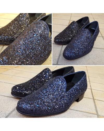 Moccasin slippers sleepers Center 51 Night light blue navy glitter