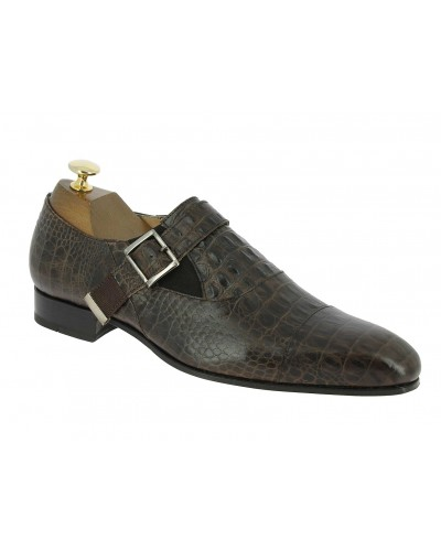 Monk strap shoe Baxton 12249 Norm brown leather crocodile print finish