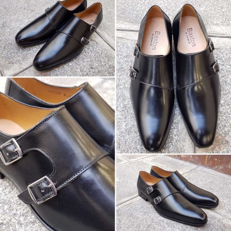 Double Monk strap shoe Baxton 10736 Rolo black leather