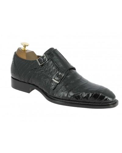 Double Monk strap shoe Mezlan 3998 genuine black crocodile