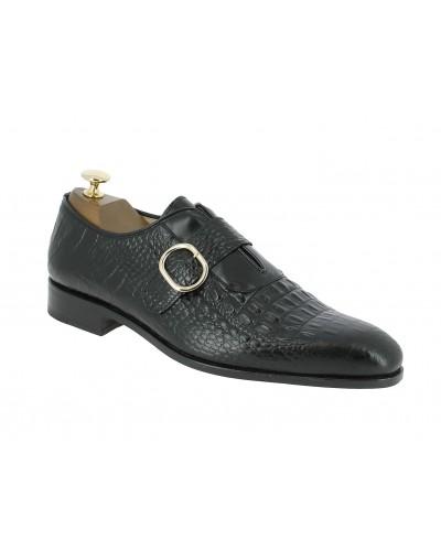 Monk strap shoe Baxton 12492 black leather crocodile print finish