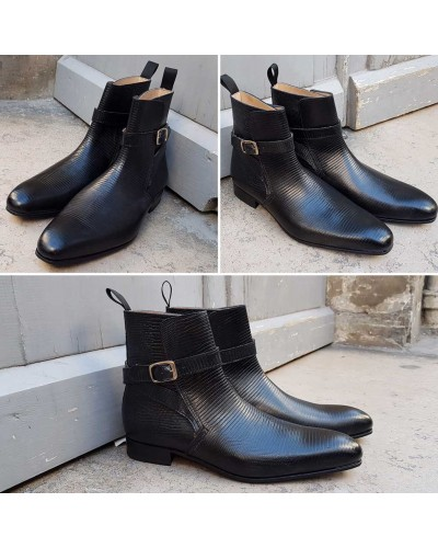 Boot Baxton 12493 black leather lizard print finish