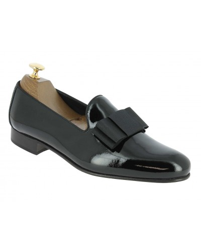 Moccasin bow knot slippers sleepers Center 51 Knot black varnished leather with black bow knot