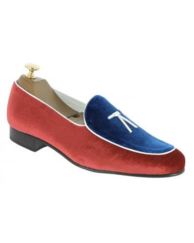 Mocassin slippers sleepers Center 51 bimat velours multicolore bleu blanc et rouge