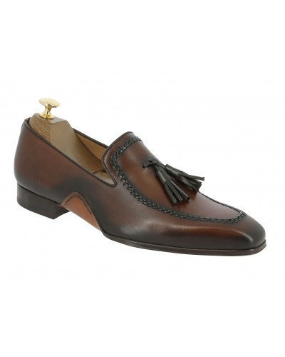 Moccasin shoe with pompons Mezlan 8452 brown leather