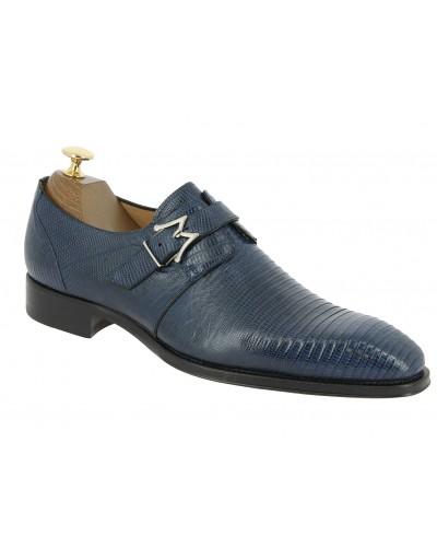 Monk strap shoe Mezlan 4594 genuine navy blue lizard