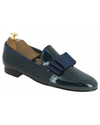 Moccasin bow knot slippers sleepers Center 51 Knot navy blue varnished leather with navy blue bow knot