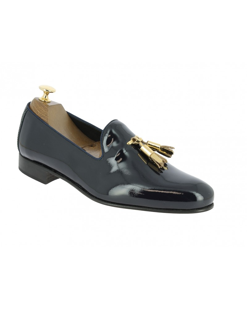 Moccasin with Pompons slippers sleepers Center 51 Prince navy blue varnished leather with golden tassels
