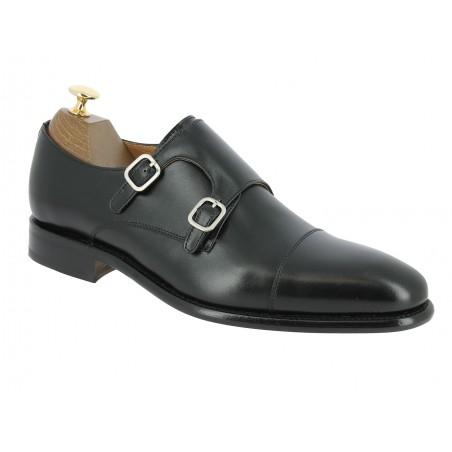 Double Monk strap shoe Berwick 2838 black leather