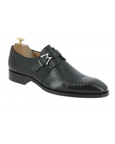 Monk strap shoe Mezlan 4594 genuine black lizard