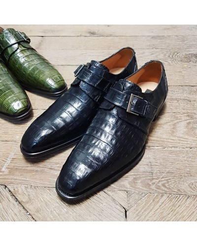 Monk strap shoe Mezlan 4312 genuine black crocodile