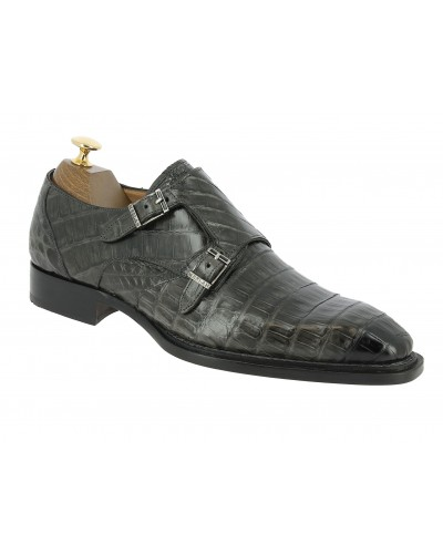 Double Monk strap shoe Mezlan 3998 genuine grey crocodile