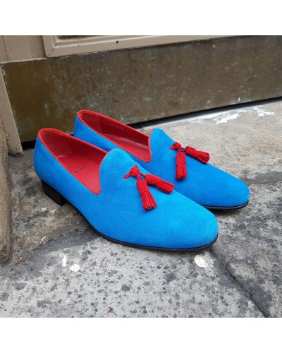 Moccasin with Pompons slippers sleepers Center 51 Prince blue azul blue suede with red tassels