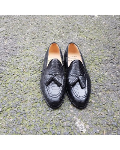Moccasin with Pompons Center 51 3136 Will black leather python print finish