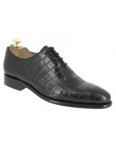 Oxford shoe Berwick 3407 black leather crocodile print finish