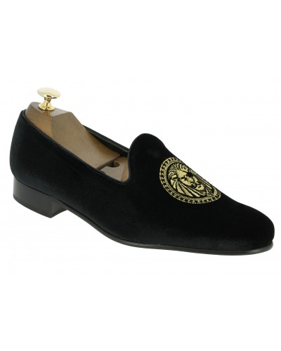 Moccasin embroidered slippers sleepers Center 51 Ares black velvet