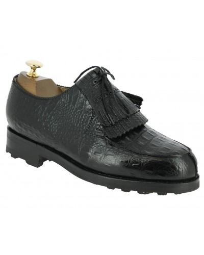 Derbie Center 51 8172 Bob cuir façon crocodile noir avec frange