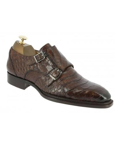 Double Monk strap shoe Mezlan 3998 genuine brown crocodile