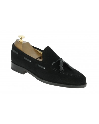Moccasin with Pompons Center 51 3136 Will black suede with black varnished leather tassels