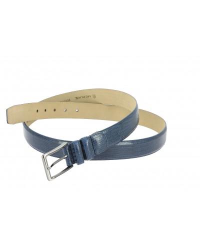 Mezlan genuine navy blue lizard leather belt