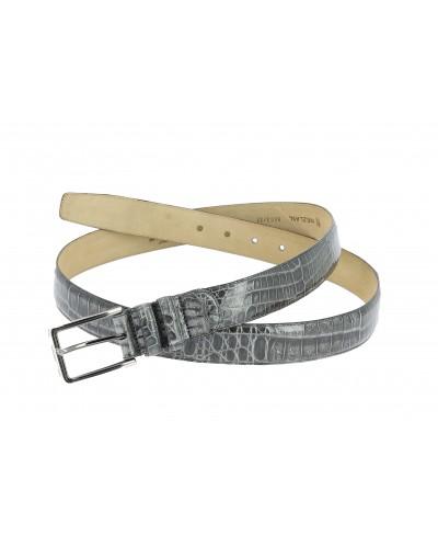 Mezlan genuine grey crocodile leather belt