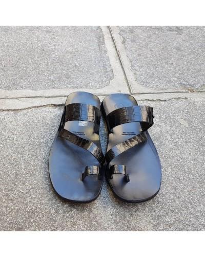 Sandals Zeus 1092 black leather crocodile print finish