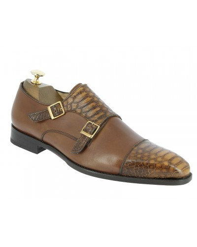 Double Monk strap shoe Center 51 13220 bi-material brown leather and brown python print finish