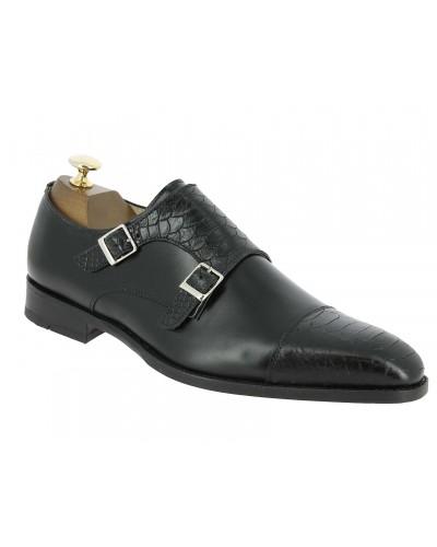Double Monk strap shoe Center 51 13220 bi-material black leather and black python print finish