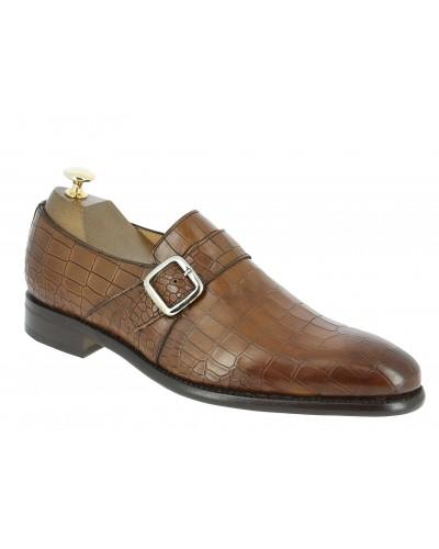 Monk strap shoe Berwick 3520 brown leather crocodile print finish