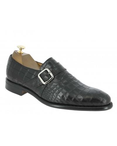 Monk strap shoe Berwick 3520 black leather crocodile print finish