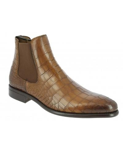 Boot Berwick 946 brown leather crocodile print finish