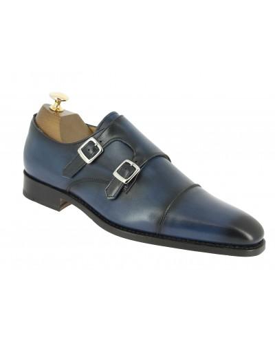 Monk strap shoe Center 51 8669 Bill navy blue leather