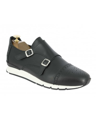 Double Monk strap Sneakers Center 51 12998 black leather
