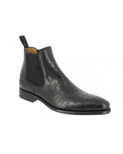 Boot Berwick 946 black leather crocodile print finish