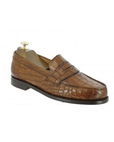 Moccasin shoe Berwick 4456 brown leather crocodile print finish